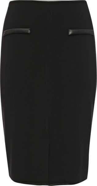 Lost Ink Curve Pencil Skirt In Ponte With Pu Pockets
