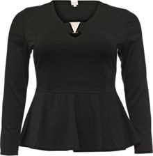 Lost Ink Curve Peplum Top With V Trim
