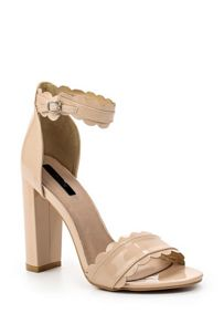 Lost Ink Mali scalloped block heeled sandals