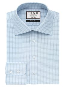 Thomas Pink Joaquin Check Slim Fit Button Cuff Shirt