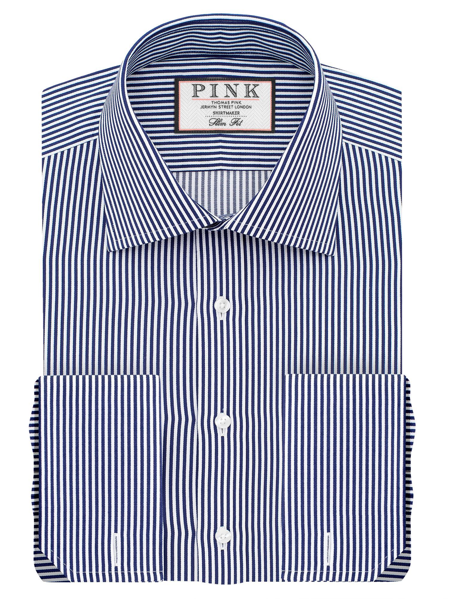 Mens Thomas Pink Grant Stripe Slim Fit Double Cuff Shirt Navy & White