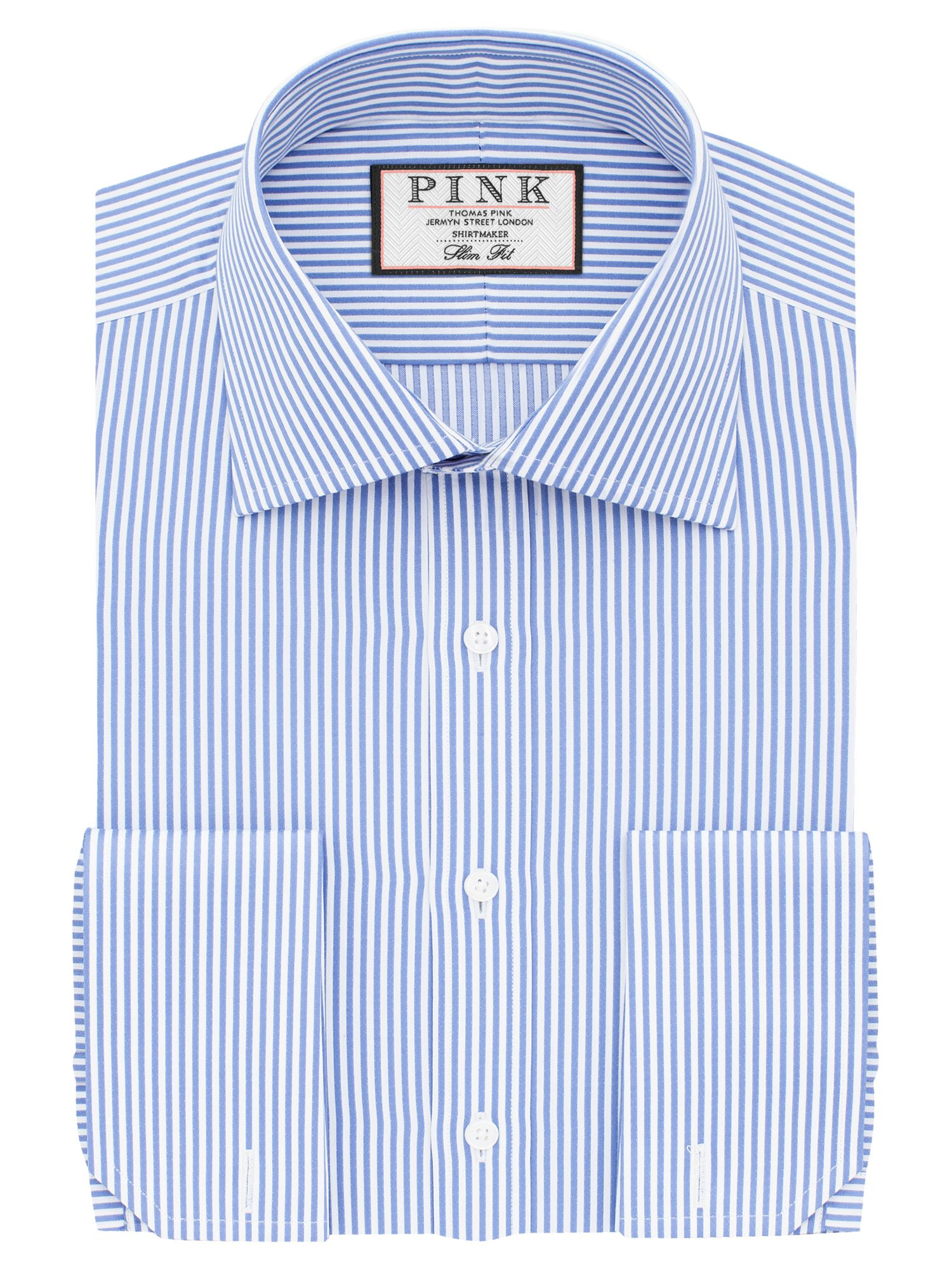 Mens Thomas Pink Grant Stripe Slim Fit Double Cuff Shirt Light Blue