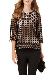 Phase Eight Joy Textured Contrast Lace Blouse