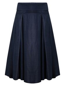 Phase Eight Caria Chambray Box Pleated Skirt