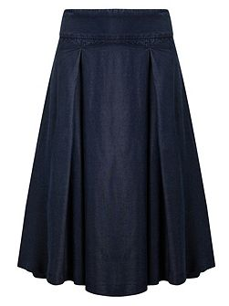 Caria Chambray Box Pleated Skirt