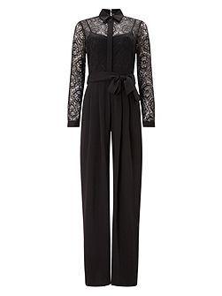 Lace Shirt Jumpsuit