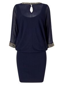 Phase Eight Emily Embellished Cut Neck Blouson Dress