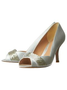 Phase Eight Beaded Satin Peep Toe Shoes