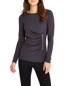 Phase Eight Zoe Zip Jersey Top