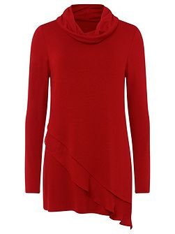 Woven Hem Roll Neck Top