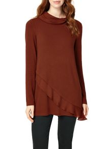 Phase Eight Woven Hem Roll Neck Top
