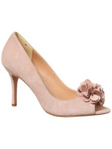 Phase Eight Petal Suede Peep Toe Courts