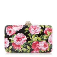Dune Belle floral print hard case clutch bag