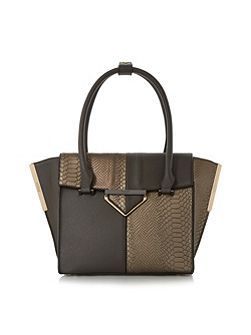 Deslay colour block winged shopper bag