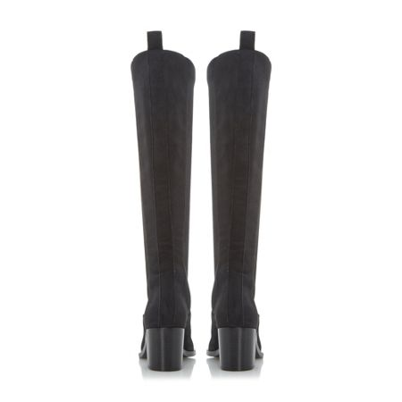 Dune Black Teyla stretch leather knee high boots
