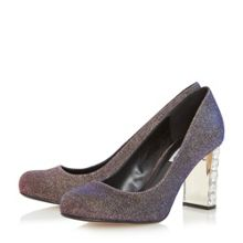 Dune Bindi jewel block heel court shoes
