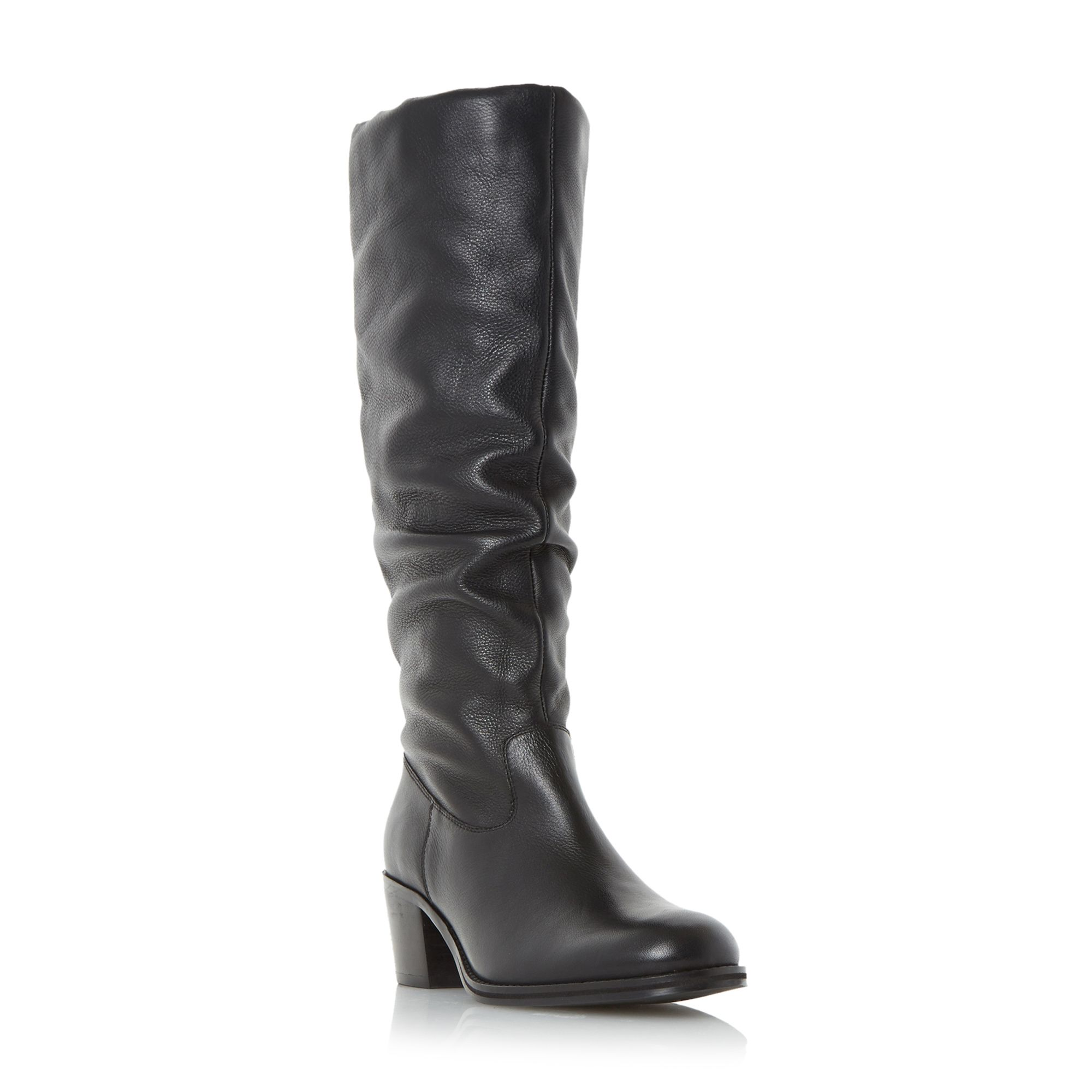 Linea Tappling ruched knee high boots Black