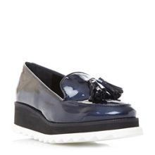 Dune Glazed loafer tooth flatforms