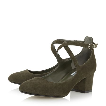 Dune Ani cross strap block heel court shoes