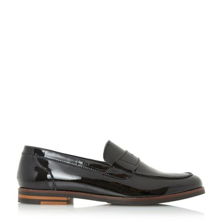 Dune Gem patent flared heel loafers