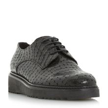 Dune Black Freed flatform reptile lace up shoes