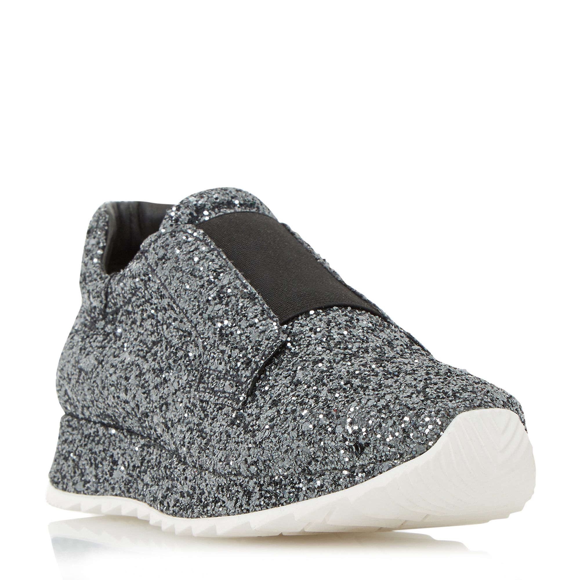 Dune Black Eccentric all over glitter trainers, Pewter