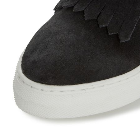 Dune Black Emperor fringe and tassel hi top trainers