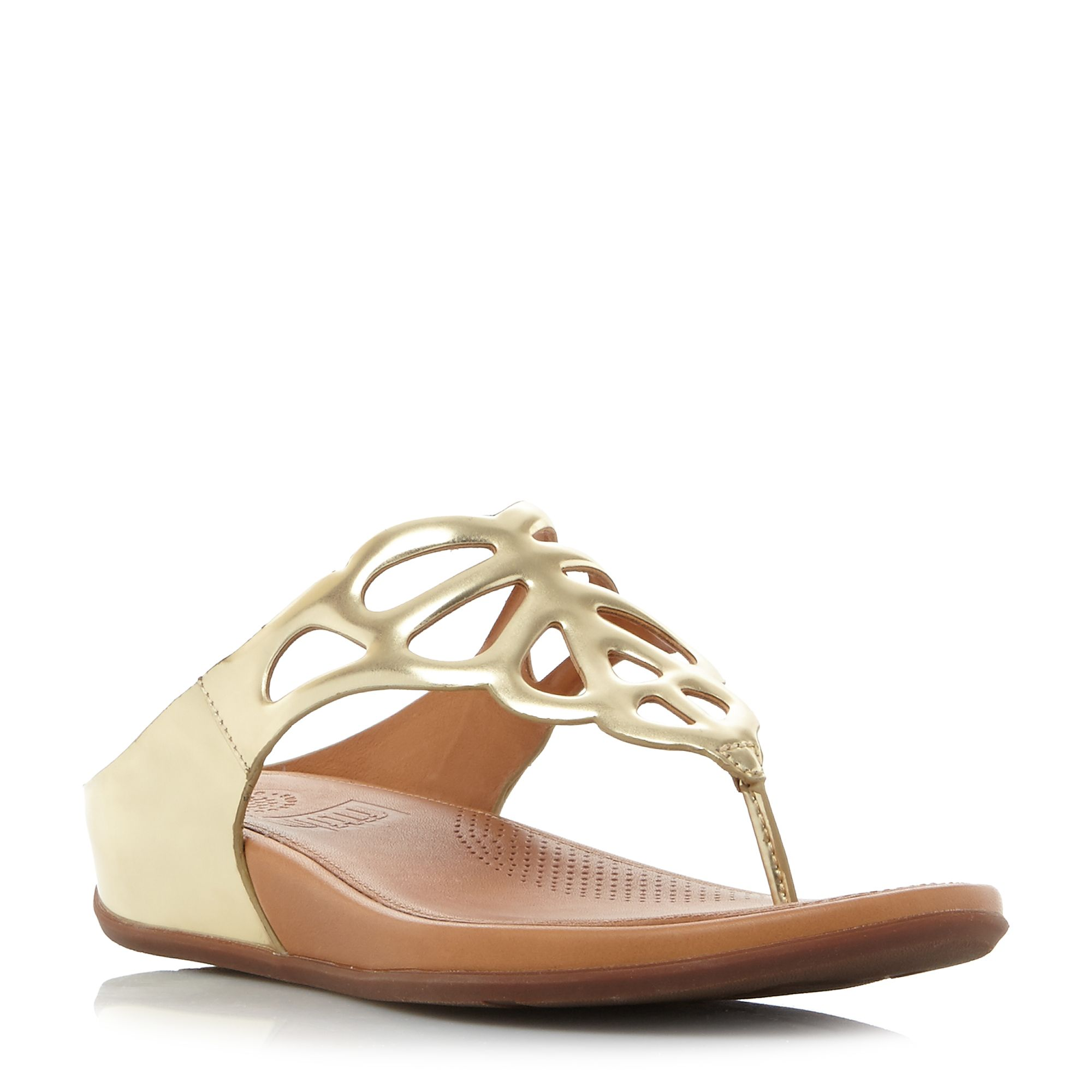 FitFlop Bumble metallic leather cutout sandals, Gold