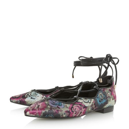 Dune Hariana tapestry ghillie lace flat shoes