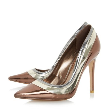 Dune Bronza triple metallic court shoes