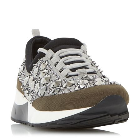 Dune Enigma embellished lace up trainers