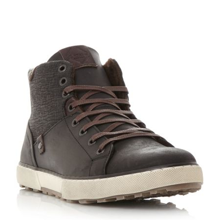 Dune Sherwood emboss panel high top trainers