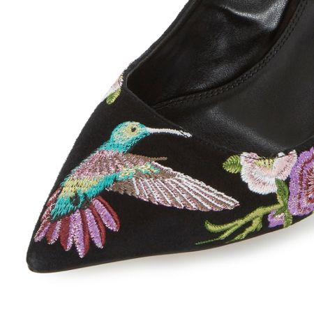 Dune Birdy embroidered court shoes