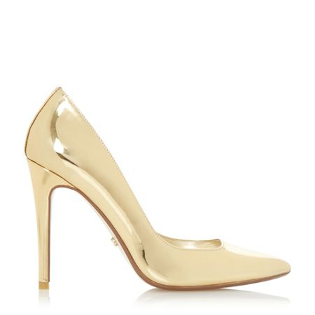 dune aiyana pointed toe high heel court shoes gold house
