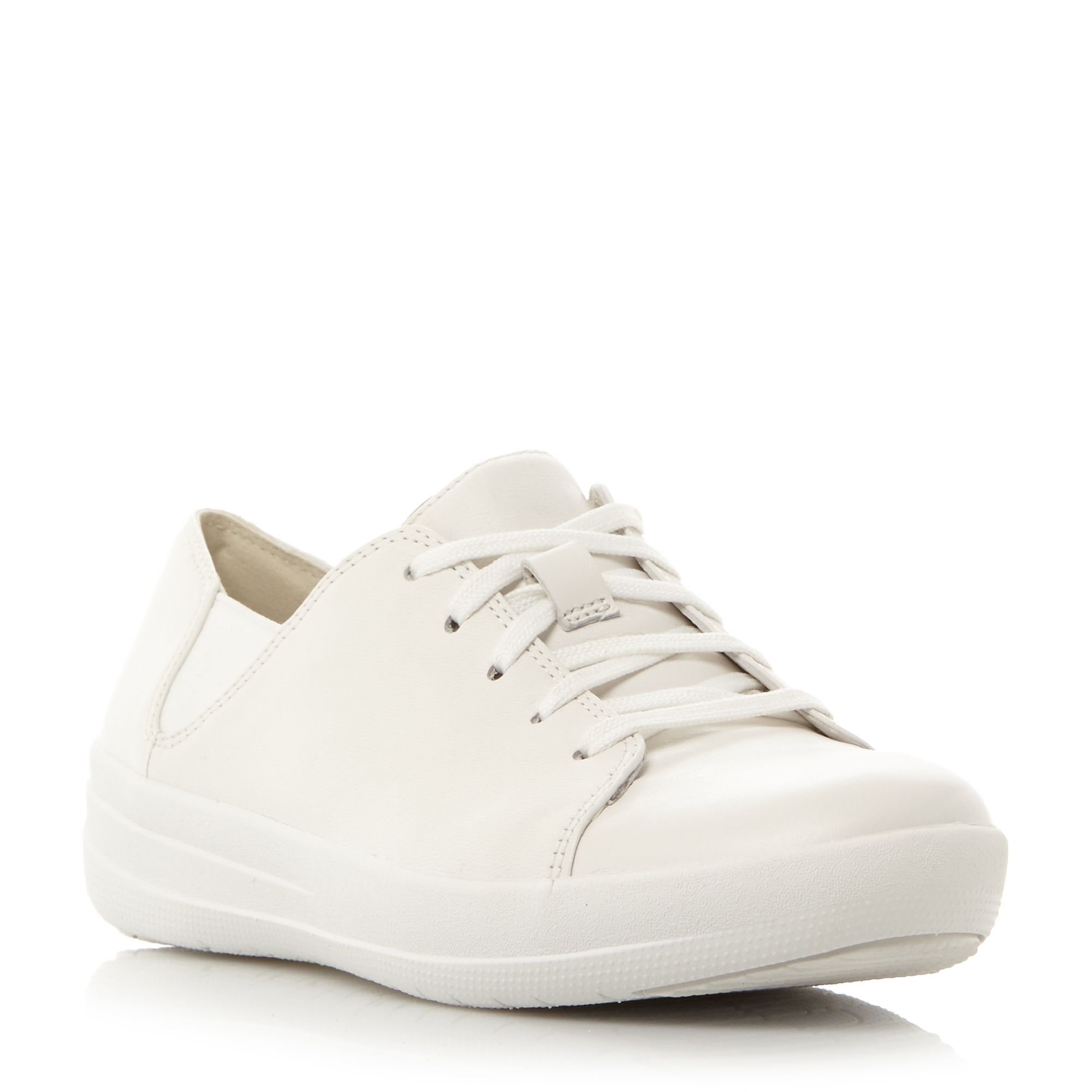 FitFlop F-sporty lace up perforated trainers, White