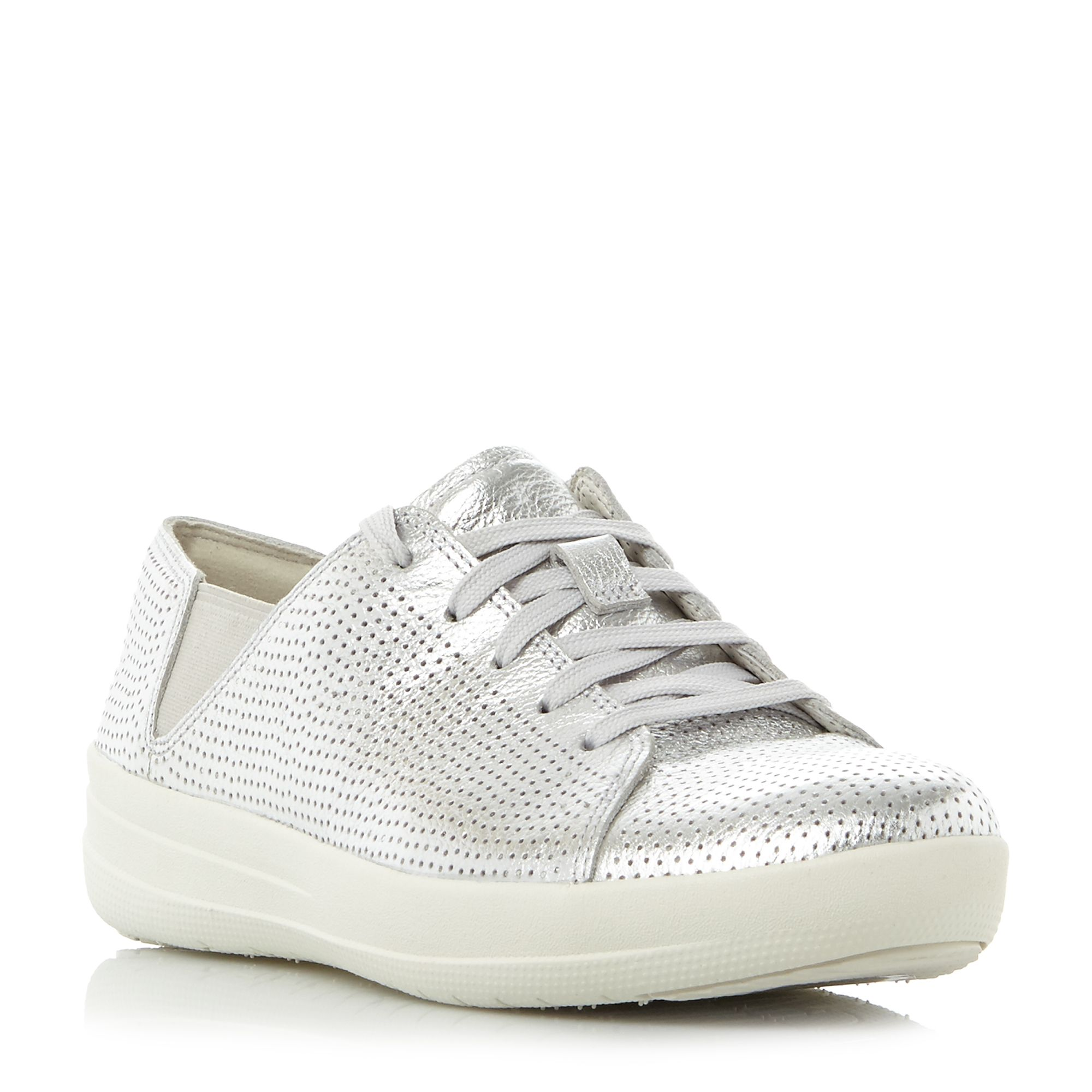 FitFlop F-sporty lace up perforated trainers, Silver