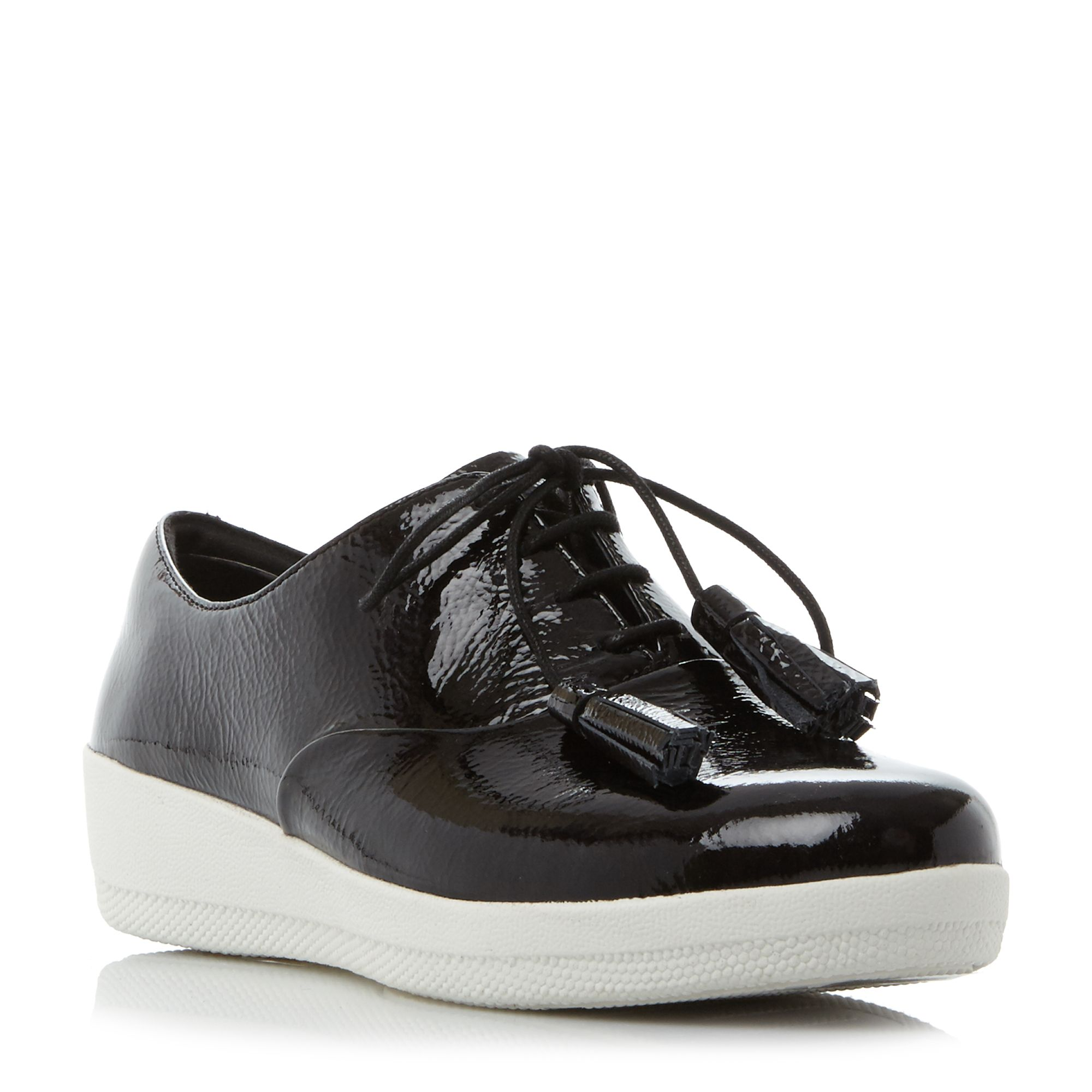 FitFlop Classic tassel patent oxford shoes, Jet Black