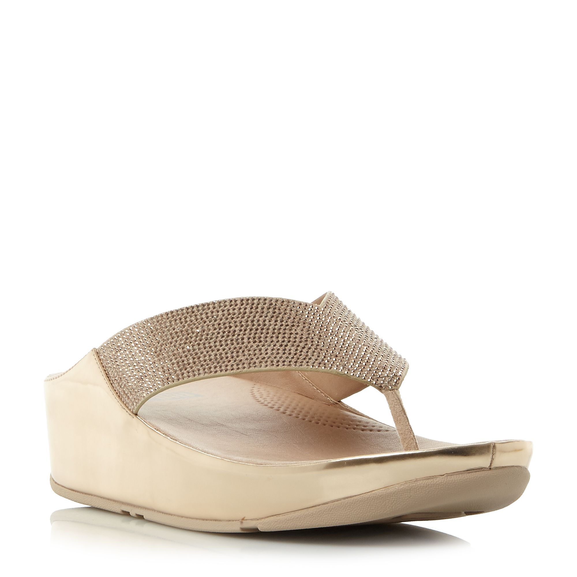 FitFlop Crystall Toepost Sandals, Rose Gold
