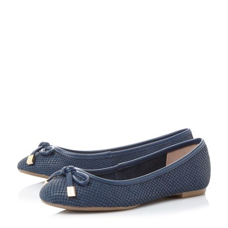 Dune Hero bow trim round toe ballerina shoes