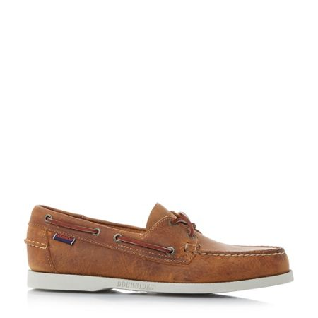Sebago Docksides white sole boatshoes