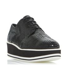 Dune Black Flight stripe laceup flatforms