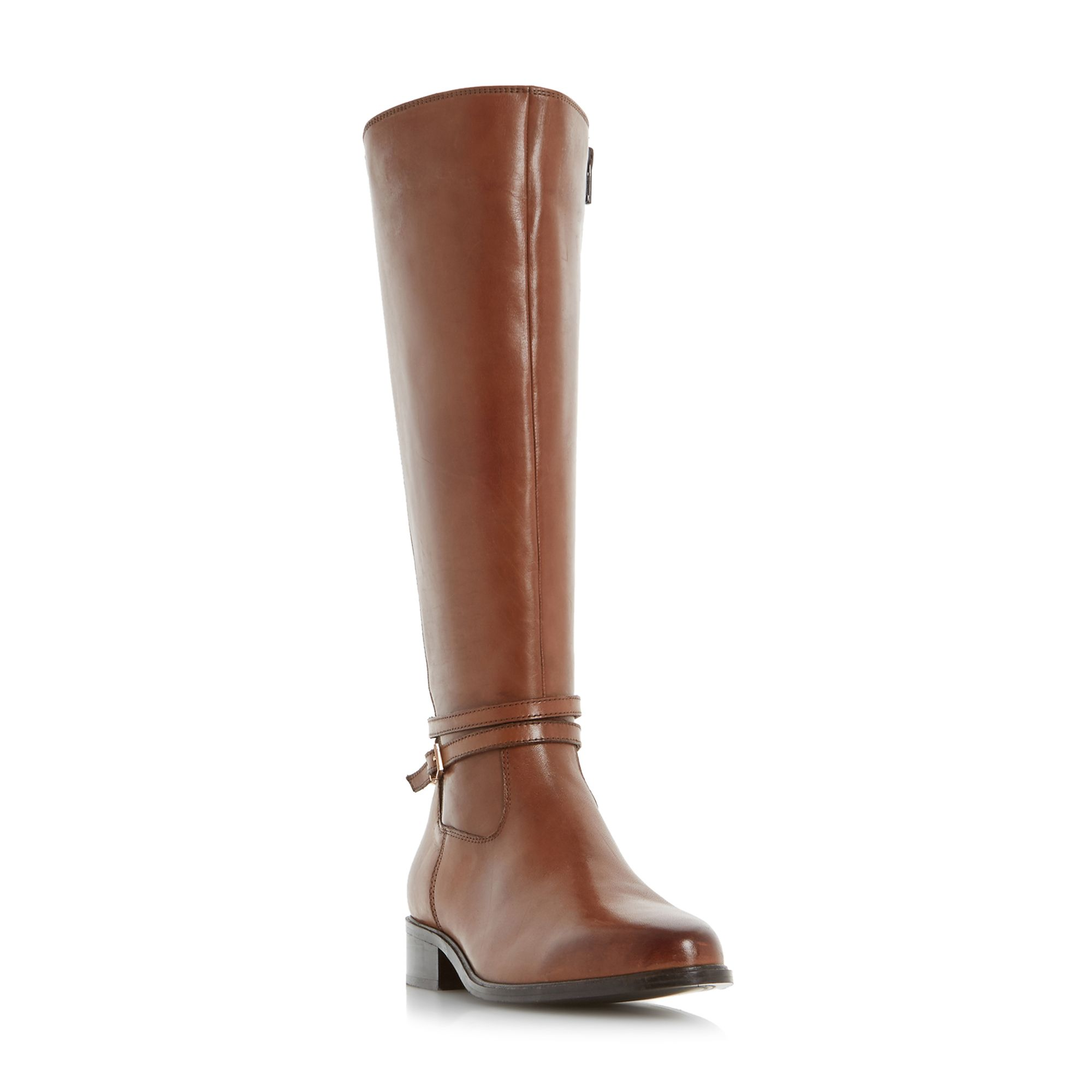Dune Taro buckle knee high riding boots Brown