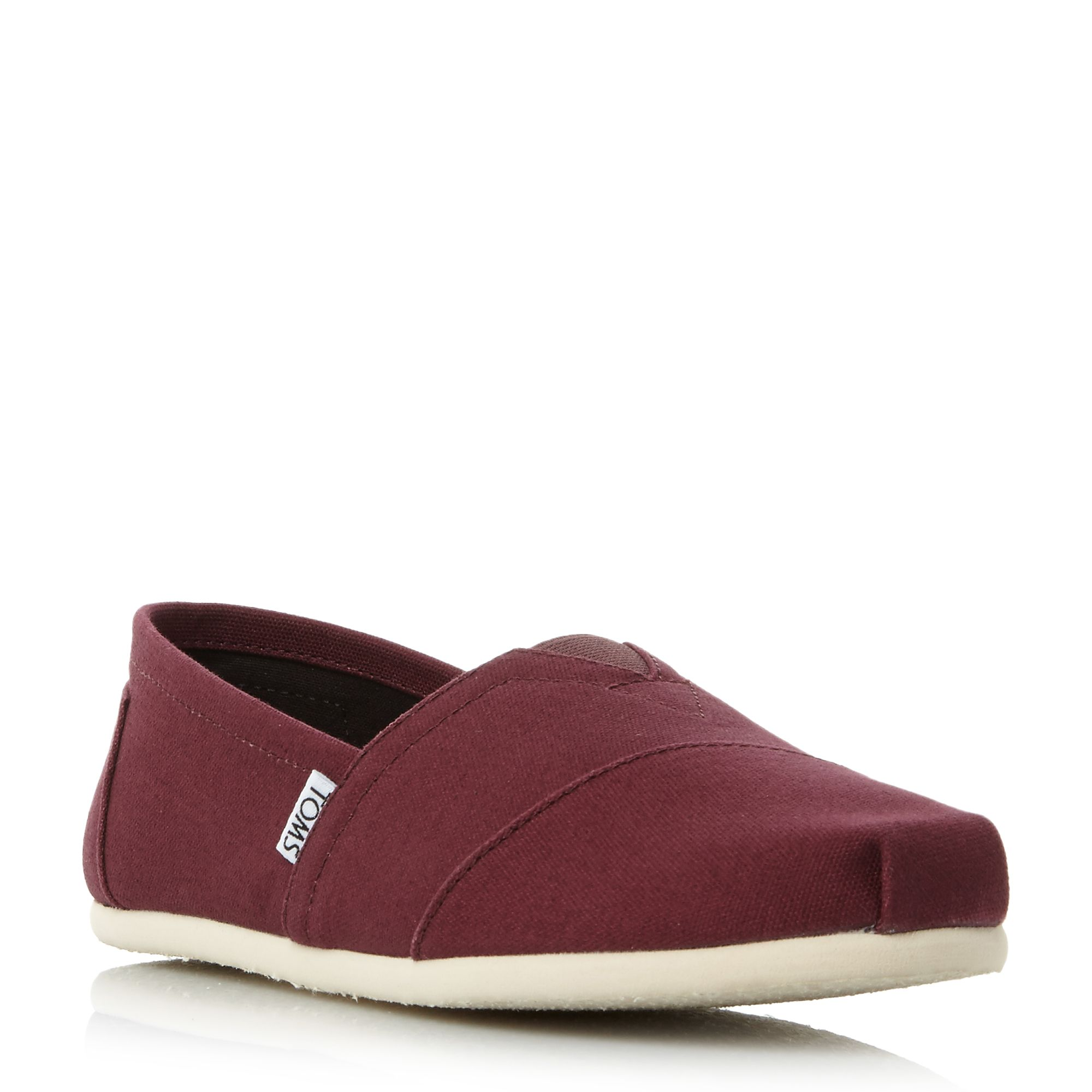 Toms classic slip on espadrilles red octer for Quality classic house of fraser