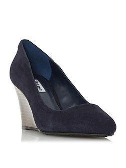 Anisa stacked wedge court shoes