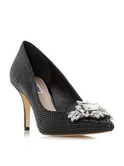 Behold jewelled pointed toe court shoes
