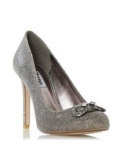Barbi jewel trim round toe court shoes