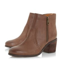 Dune Pryce side zip block heel ankle boots