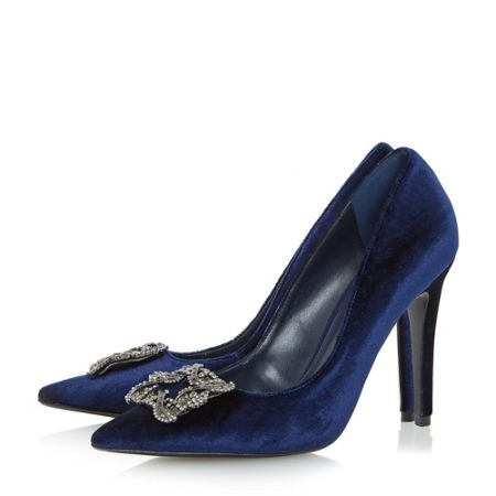 Dune Breanna jewelled brooch court shoes