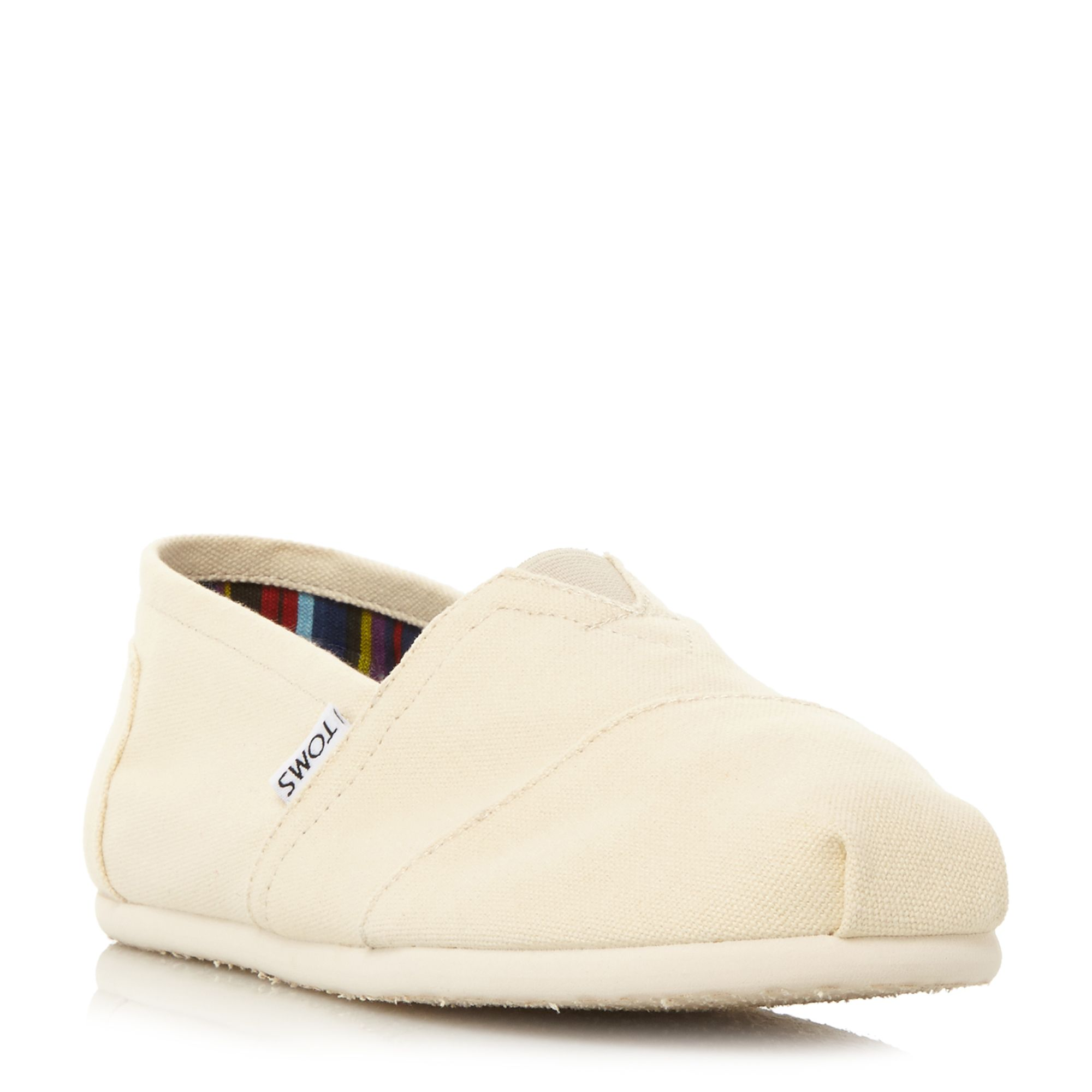 Toms classic slip on espadrilles cream octer for Quality classic house of fraser