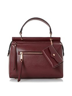 Damille front zip detail top handle bag